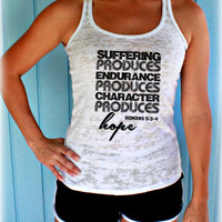 Womens Burnout Workout Tank Top. Suffering Produces Hope Bible Verse. Running Tank Top. Christian Inspired Workout Apparel.