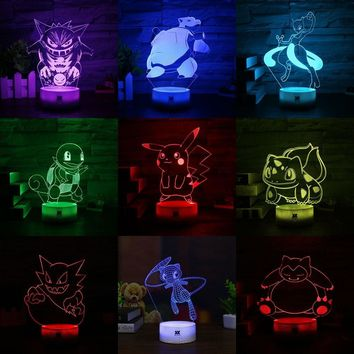 HUI YUAN Brand  3D Creative Lamp 7 Color Change Night Light Base USB Cartoon Decorative Table Lamp Children's GiftKawaii Pokemon go  AT_89_9
