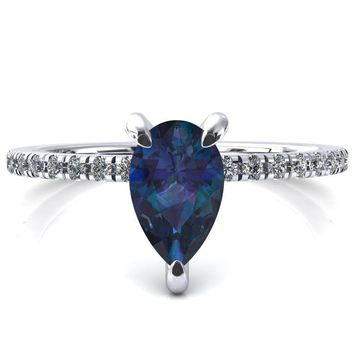 Mayeli Pear Alexandrite 3 Claw Prong Micro Pave Diamond Sides Engagement Ring