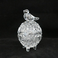Vintage Germany Hofbauer Byrdes Bird Lead Crystal Egg Trinket Box Small