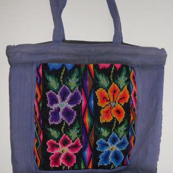 Vintage 70s 80s Guatemala Hand Woven Rainbow Floral Purse Tote Heavy Canvas