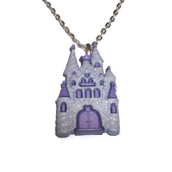 Castle Necklace, Lavender Glitter, Kawaii Necklace, Fairy Kei