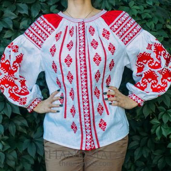 "White embroidered blouse vyshyvanka ""Red pattern"""