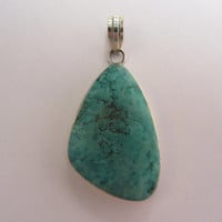Custom Made Sterling Silver Huge Natural Turquoise Pendant - 16.23g