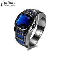 Size 6/7/8/ Men Fashion Jewelry Black Gold Filled Male Ring Blue Purple Green Vintage Wedding Party Finger Rings