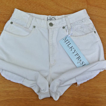 "High Waisted Cuffed Crochet Shorts Size 3 Milky Fr3sh ""Sydney"""