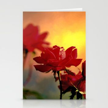 Sunrise On Roses  Stationery Cards by Theresa Campbell D'August Art