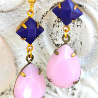 Pink and Navy Blue Pear Tear Drop Dangle Earrings -  Vintage Brass Gold Dangle Earrings - Preppy - Beach,Wedding, Bridesmaids