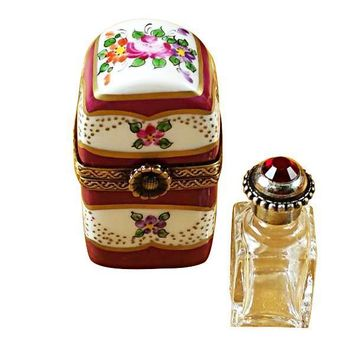 BURGUNDY TALL WITH FLOWERS AND BOTTLE LIMOGES BOXES