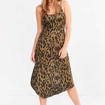 Silence + Noise Axel Leopard Bias-Cut Midi Slip Dress - Urban Outfitters