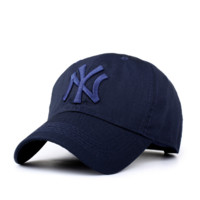 MLB Hat Navy Blue NY Embroidered Unisex Adjustable Outdoor Baseball Cap Hat