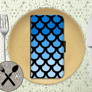 Blue Mermaid Fish Scales Tumblr Inspired Cute Custom Wallet Phone Case For iPhone 4 and 4s and iPhone 5 and 5s and 5c iPhone 6 and 6 Plus +