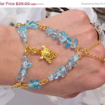 SALE Gold Turtle Slave Bracelet Ring, Aqua, Gemstone, Beaded, Aquamarine, Slave Bracelet, Bracelet Ring, Adjustable, Custom Sized, Bracelet
