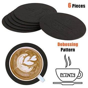 Leather Drink Coasters PLENTY Waterproof PU Leather Coasters Set of 6 for Coffee Tea Cups Mugs Glasses Round