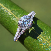 CUSTOM Made - 1.25 ct  Round - Split Shank-  Halo - Pave - Antique Style - Diamond Engagement Ring 14K white gold - Weddings- Luxury- Brides