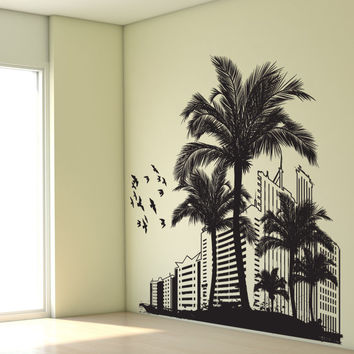 Vinyl Wall Decal Sticker Beach Buildings #1198
