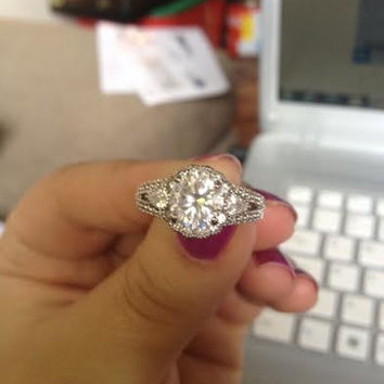 Cubic Zirconia Engagement Ring- Round Cut Halo with Pear Cut and Pave Accents
