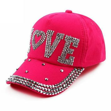 Accessories Rhinestone Crystal-Baseball Cap Studded Adjustable Bling Tennis Hats