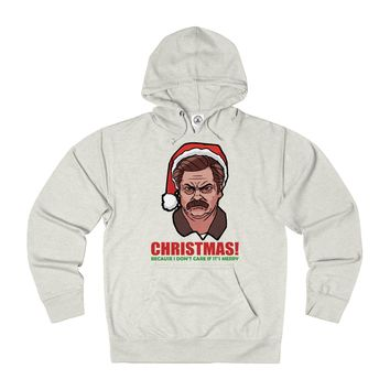Ron Swanson Ugly Christmas Sweater Hoodie. Christmas! Because I Don't Care If It's Merry