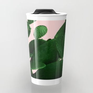 Cactus On Pink Travel Mug by ARTbyJWP