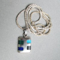 Vintage Mexican Sterling Silver LONG Modernist Pendant Necklace, Inlaid Turquoise, Lapis, Malachite, Onyx