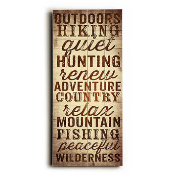 Outdoors Hiking by Artist Dallas Drotz Wood Sign