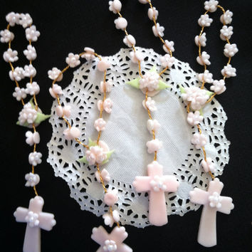 Mini Rosary Favors, Girls Baptism Favor, 12 Pink Rosaries Favor, First Communion Rosary, First Communion Favor, Pink Baptism Favor, Rosaries