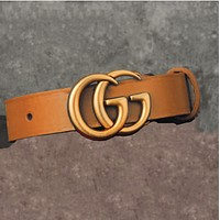 GUCCI Women's Fashion Buckle Belt Leather Belt Brown