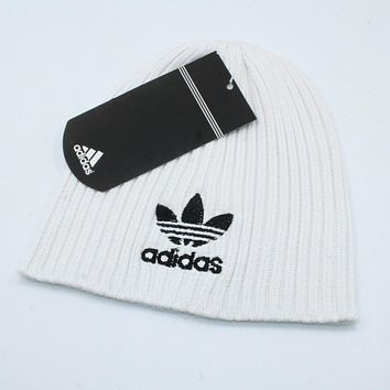 Adidas Autumn Winter Classic Popular Women Men Embroidery Knit Hat Warm Cap White