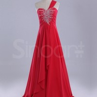 Buy Red Beaded A-line One-shoulder Neckline Sweep Train Prom/Wedding Party Dress under 200-SinoAnt.com