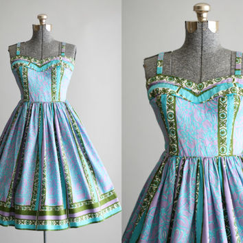 Vintage 1950s Dress / Tori Richard of Honolulu / Turquoise Floral Sun Dress w/ Sweetheart Neckline S