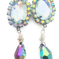 Victorian earrings  with sparkly swarovski elements teardrop and rhinestones prom dangle elegant jewellery