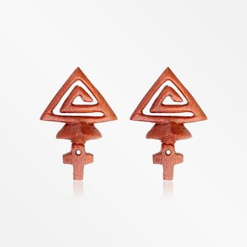 A Pair of Ankh's Pyramid Handcarved Earring Stud