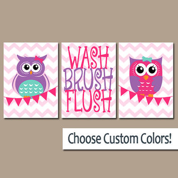 OWL Bathroom Wall Art CANVAS or Prints Pink Purple Sister Bathroom Cute Girl Bathroom WASH Brush Flush Set of 3 Kid Bathroom Rules Decor