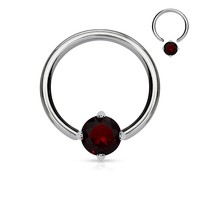 Red Solitaire CZ Stone Captive Bead Ring