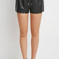 Black Cut-Out Leather Shorts with Scallop Hem