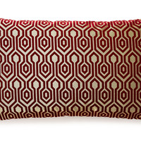 Geo 14x24 Embroidered Pillow, Burgundy, Decorative Pillows