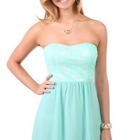 strapless casual dress with lace bodice and chiffon skirt - debshops.com