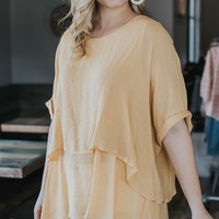 Kasey Rolled Sleeve Layered Tunic Top, Mango