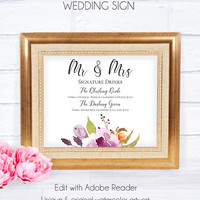 Floral Wedding Sign Signature Cocktail, Wedding Reception, Wedding Accessory, Wedding Decor, Wedding Signature, Printable Floral Wedding