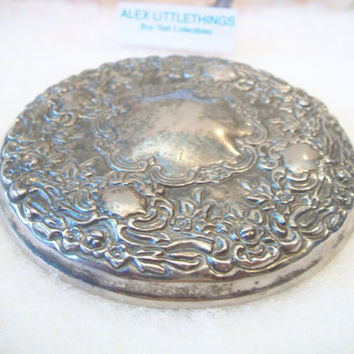 Godinger Silver Plated Powder Box Jar Lid Mirrored Vanity