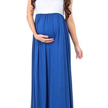 MANNEW Maternity Dress Sleeveless Maxi Dress Tank Stitching Color Block Stretch Causual Wrap Dress Ruched Gowns