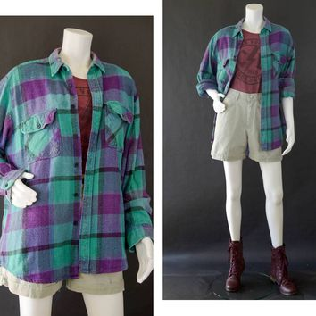 Vintage Coleman Plaid Flannel Long Sleeve Shirt, 90s Oversized Grunge Flannel Shirt, Unisex Plaid Shirt, Purple Teal Shirt, Men's Size Large