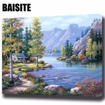 Framed Landscape Pictures Canvas Oil Painting By Numbers  Wall Art Home Decor