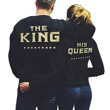 Creative New 1PC Crop top Shirts King Queen Letter Womens long sleeve tops shirts Women Blouse Shirts Men harajuku 1850 294