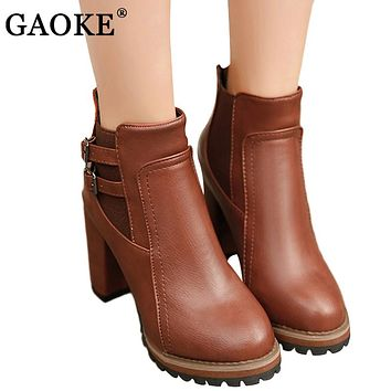 GAOKE 2017 Autumn Winter Fashion Women Boots High Heels Platform Buckle Leather Short Booties Brown Ladies Shoes Good Quality