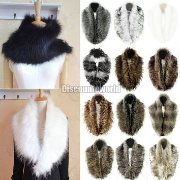 2016 Fashionable ladies Winter Warm Shrug Faux Rabbit Fur Fluffy Scarves Collar Shawl Neck Wrap For Women 14 Colors Freeshipping