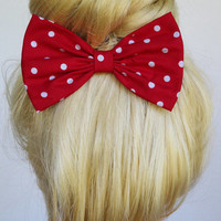 Red and White POLKADOTS bow rockabilly hair bows pin up hair bows retro hair clips women teens girls polkadots hair bow polkadots hair clip
