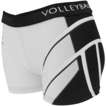 Printed Spandex Sport Shorts - White Volleyball