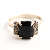 Vintage Rhinestone Cocktail Ring -  Adjustable Black & Clear Glass Stone Costume Jewelry / Faceted Faux Onyx